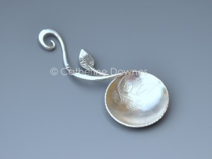 Sterling silver Tea Caddy spoon with chased detail. © Catherine Downes